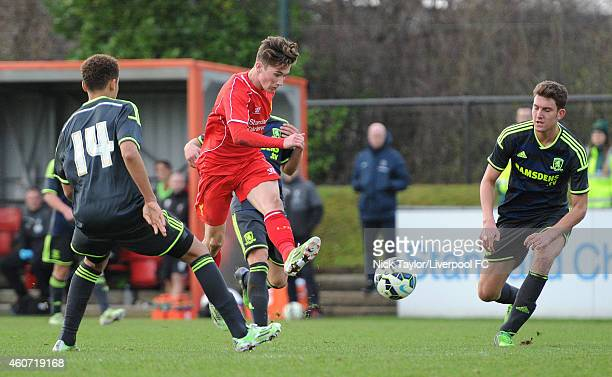 Harry Wilson of Liverpool has a shot on goal during the Barclays Premier League Under 18 fixture between Liverpool and Middlesbrough at the Liverpool...