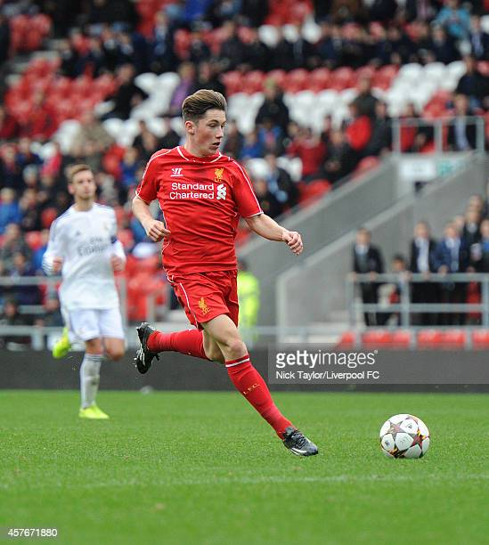 Harry Wilson of Liverpool in action during the UEFA Youth Champions League fixture between Liverpool and Real Madrid at Langtree Park on October 22...