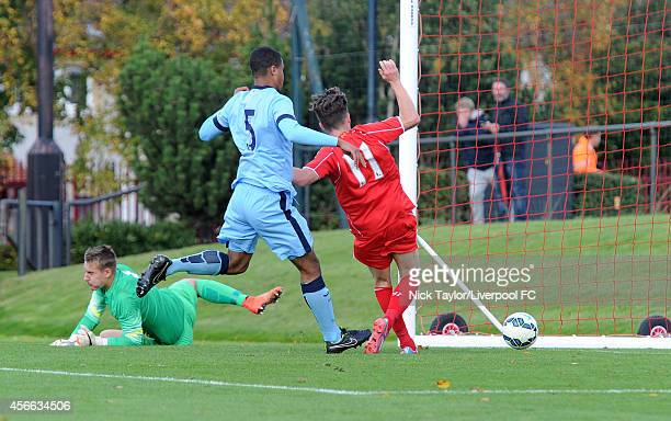 Harry Wilson of Liverpool scores during the Barclays Premier League Under 18 fixture between Liverpool and Manchester City at the Liverpool FC...