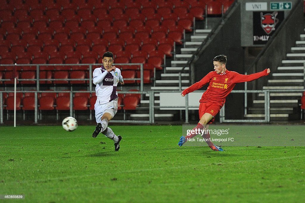 Harry Wilson of Liverpool scores his first and Liverpool's second goal of the game during the FA Youth Cup Fourth Round fixture between Liverpool and Aston Villa at Langtree Park on January 15, 2014 in St Helens, England.