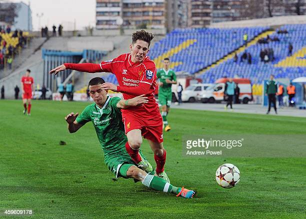 Harry Wilson of Liverpool youth competes with Denislav Aleksandrov of PFC Ludogorets Razgrad during the UEFA Youth League match between PFC...