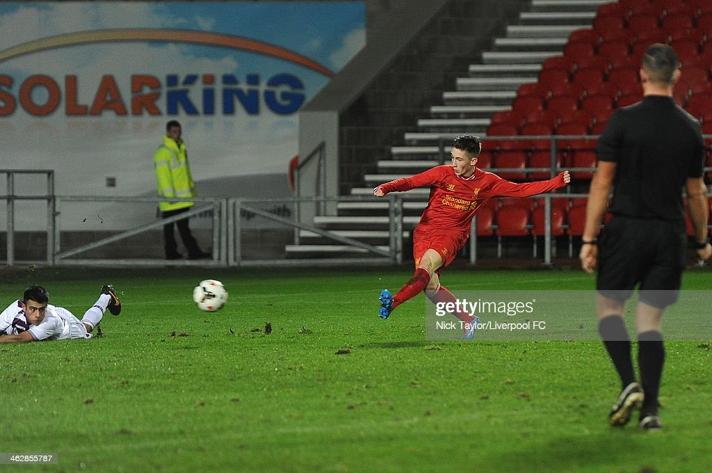 Harry Wilson scores his second and Liverpool's third goal of the game during the FA Youth Cup Fourth Round fixture between Liverpool and Aston Villa at Langtree Park on January 15, 2014 in St Helens, England.