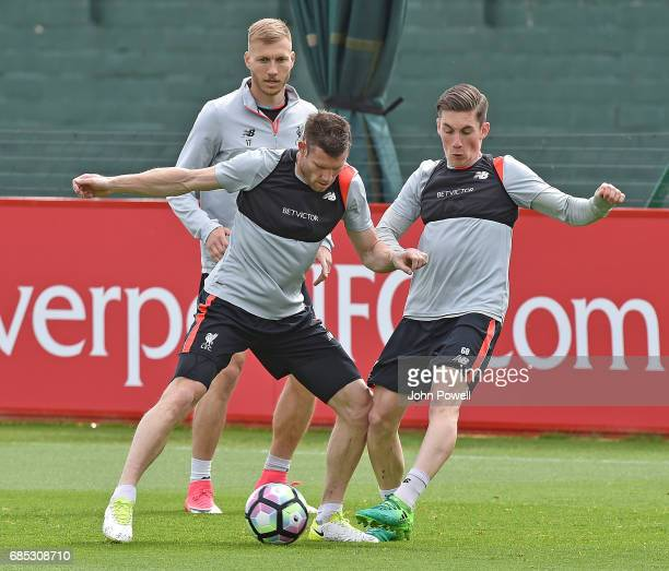 Harry Wilson with James Milner of Liverpool during a training session at Melwood Training Ground on May 19 2017 in Liverpool England