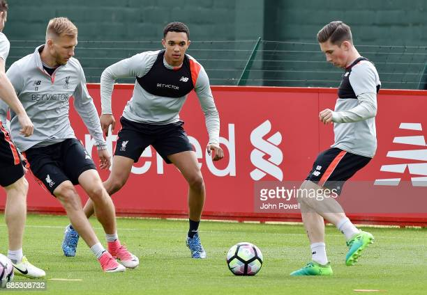 Harry Wilson with Ragnar Klavan of Liverpool during a training session at Melwood Training Ground on May 19 2017 in Liverpool England