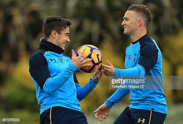 Harry Winks and Kieran Trippier of Tottenham Hotspur during a training session at the clubs' training ground on November 4 2016 in Enfield England