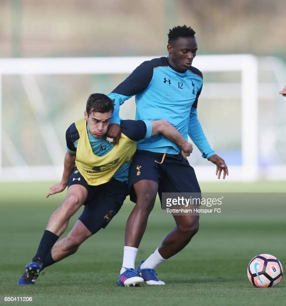 Harry Winks and Victor Wanyama of Tottenham during the Tottenham Hotspur training session at Tottenham Hotspur Training Centre on March 9 2017 in...