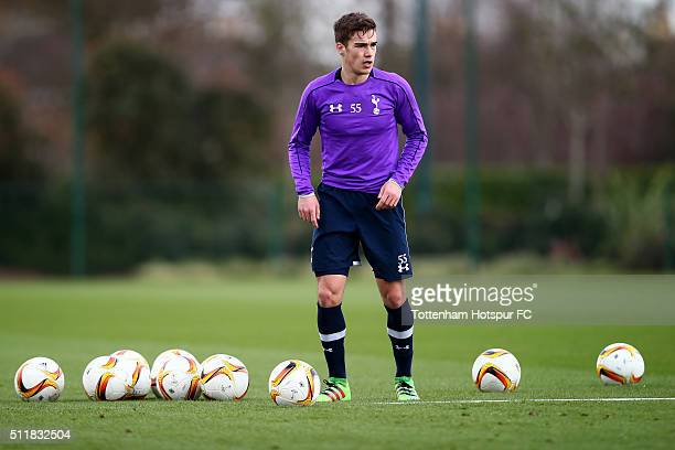 Harry Winks in action during a Tottenham Hotspur training session at the Tottenham Hotspur Training Centre on February 23 2016 in Enfield England