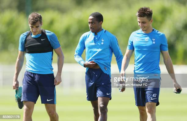 Harry Winks Kyle WalkerPeters and Anthony Georgiou of Tottenham during the Tottenham Hotspur training session at Tottenham Hotspur Training Centre on...