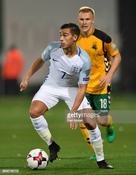 Harry Winks of England controls the ball during the FIFA 2018 World Cup Group F Qualifier between Lithuania and England at LFF Stadium on October 8...