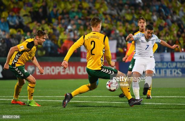 Harry Winks of England is blocked by Linas Klimavicius of Lithuania during the FIFA 2018 World Cup Group F Qualifier between Lithuania and England at...