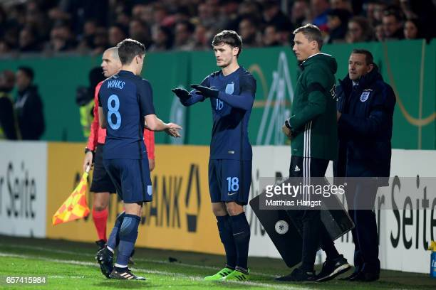 Harry Winks of England leaves the pitch for John Swift of England during the U21 international friendly match between Germany and England at...