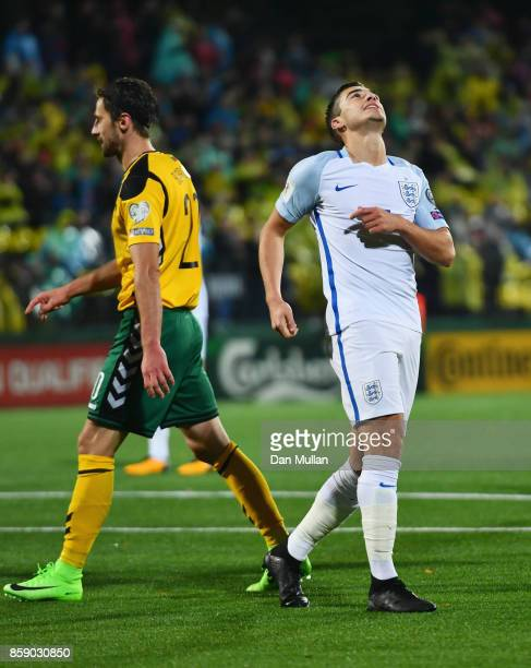 Harry Winks of England reacts after a missed chance during the FIFA 2018 World Cup Group F Qualifier between Lithuania and England at LFF Stadium on...