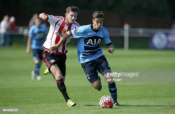 Harry Winks of Spurs battles with Liam Agnew of Sunderland during the Barclays U21 Premier League match between Sunderland U21 and Tottenham Hotspur...