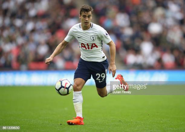 Harry Winks of Spurs in action during the Premier League match between Tottenham Hotspur and AFC Bournemouth at Wembley Stadium on October 14 2017 in...