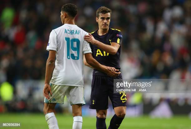 Harry Winks of Tottenham Hotspur and Achraf Hakimi of Real Madrid during the UEFA Champions League group H match between Real Madrid and Tottenham...