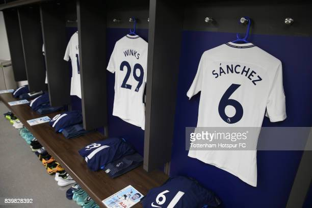 Harry Winks of Tottenham Hotspur and Davinson Sanchez of Tottenham Hotspur shirts hang in the changing room prior to the Premier League match between...