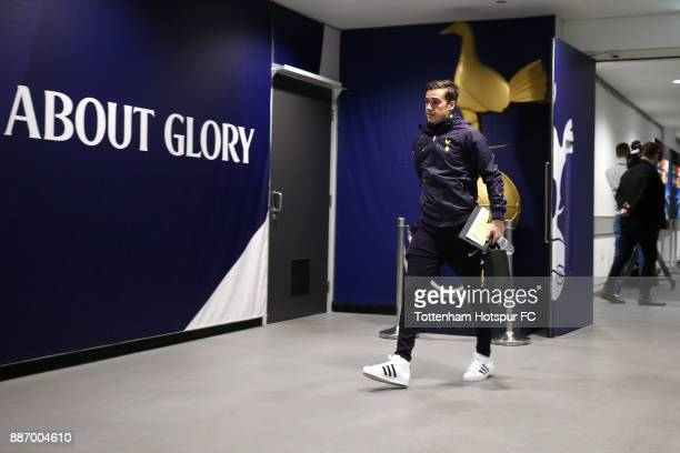 Harry Winks of Tottenham Hotspur arrives ahead of the UEFA Champions League group H match between Tottenham Hotspur and APOEL Nicosia at Wembley...