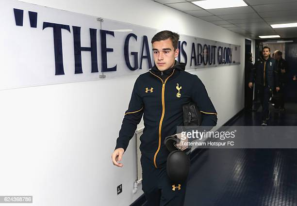 Harry Winks of Tottenham Hotspur arrives for the Premier League match between Tottenham Hotspur and West Ham United at White Hart Lane on November 19...