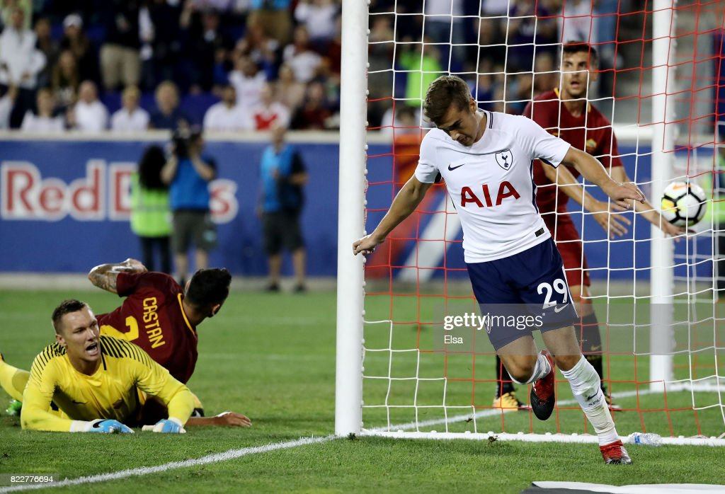 Harry Winks #29 of Tottenham Hotspur celebrates his goal in the second half as Lukasz Skorupski #28 of Roma reacts during the International Champions Cup on July 25, 2017 at Red Bull Arena in Harrison, New Jersey.