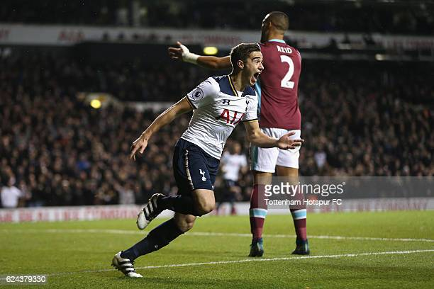 Harry Winks of Tottenham Hotspur celebrates scoring his sides first goal during the Premier League match between Tottenham Hotspur and West Ham...
