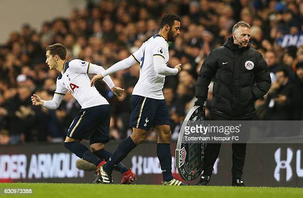Harry Winks of Tottenham Hotspur comes on for Mousa Dembele of Tottenham Hotspur during the Premier League match between Tottenham Hotspur and...