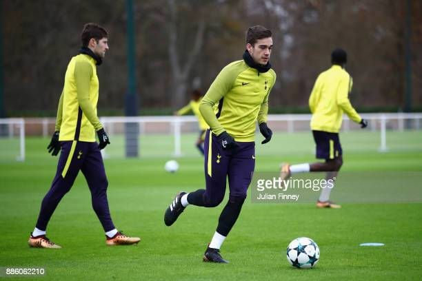 Harry Winks of Tottenham Hotspur in action during a Tottenham Hotspur training session at Tottenham Hotspur Training Centre on December 5 2017 in...