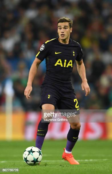 Harry Winks of Tottenham Hotspur in action during the UEFA Champions League group H match between Real Madrid and Tottenham Hotspur at Estadio...