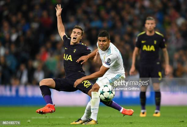 Harry Winks of Tottenham Hotspur is fouled by Casemiro of Real Madrid during the UEFA Champions League group H match between Real Madrid and...