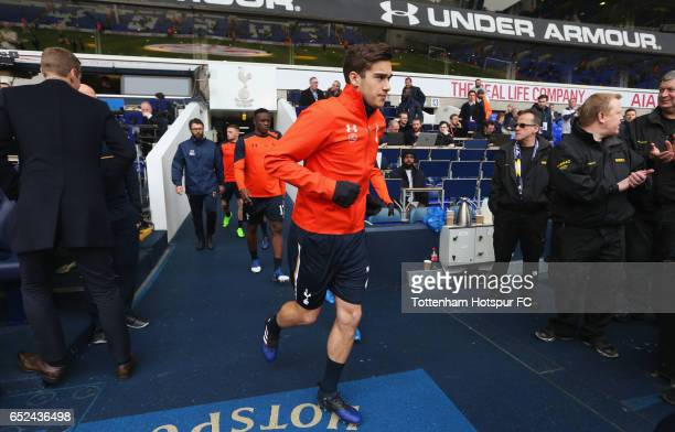 Harry Winks of Tottenham Hotspur walks onto the pitch prior to The Emirates FA Cup QuarterFinal match between Tottenham Hotspur and Millwall at White...