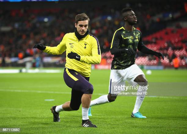 Harry Winks of Tottenham Hotspur warms up prior to the UEFA Champions League group H match between Tottenham Hotspur and APOEL Nicosia at Wembley...