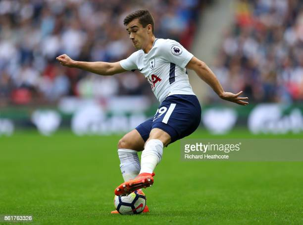Harry Winks of Tottenham in action during the Premier League match between Tottenham Hotspur and AFC Bournemouth at Wembley Stadium on October 14...