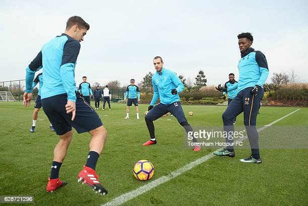 Harry Winks Pau Lopez and Josh Onomah of Tottenham during the Tottenham Hotspur training session at Tottenham hotspur Training Centre on December 9...