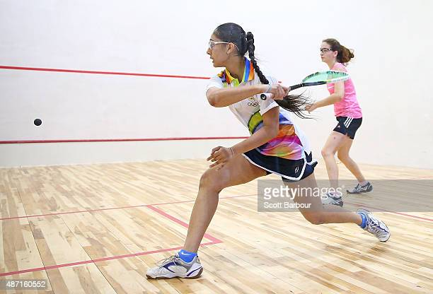Harshit Kaur Jawanda of India plays a shot during her match against Susanna Armano of Bermuda during the Women's Singles Squash at the Tuanaimato...