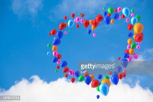 Hart shape made of balloons : Stock Photo