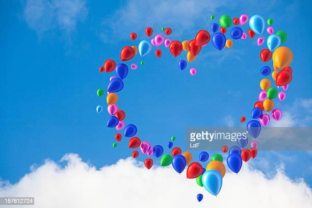 Hart Form aus Luftballons
