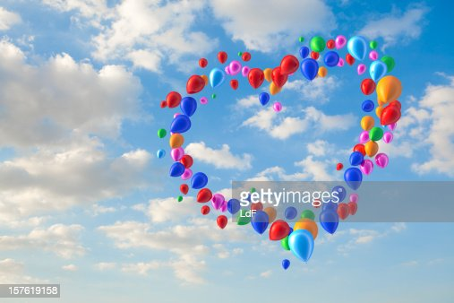 Hart shape made of balloons : Stock Photo