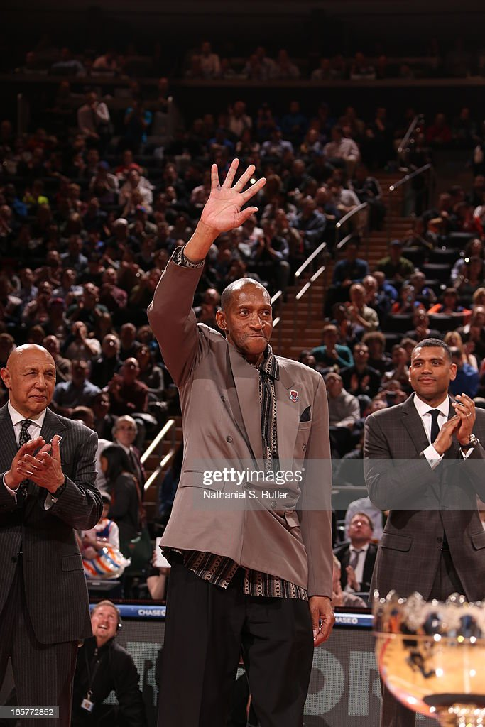 Harthorne Wingo of the 1972 - 1973 Championship New York Knicks team during a ceremony at halftime honoring the 40th anniversary of the team's victory in the NBA Finals on April 5, 2013 at Madison Square Garden in New York City.