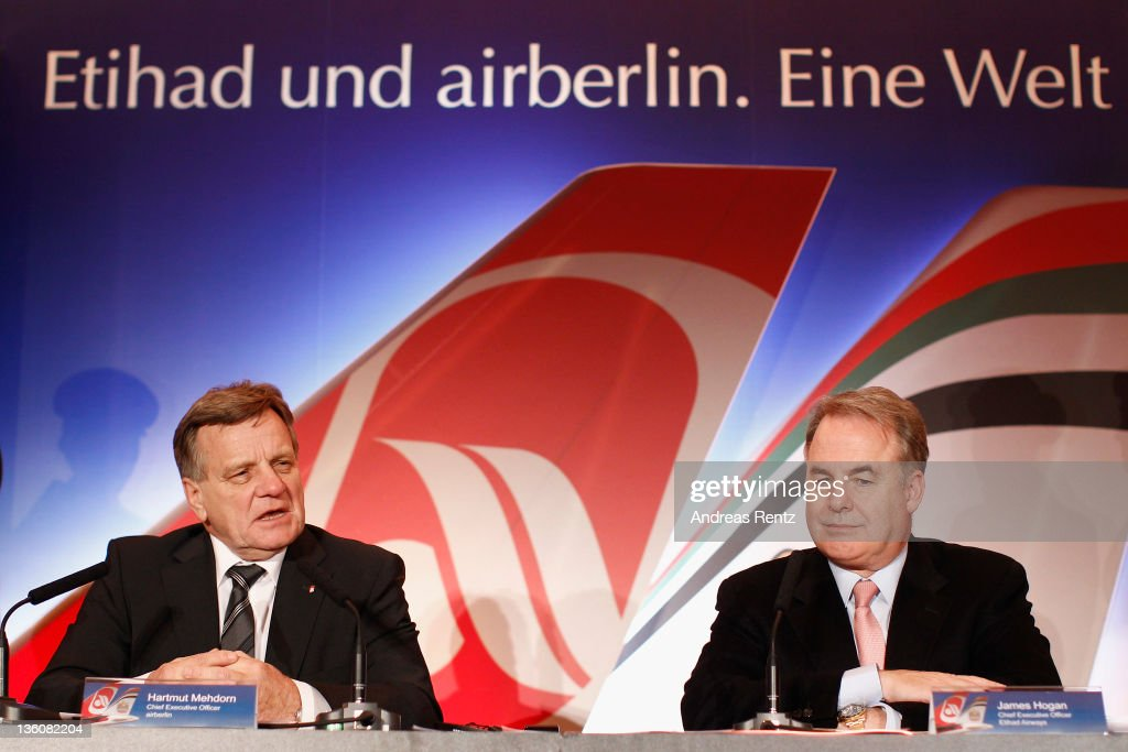 <a gi-track='captionPersonalityLinkClicked' href=/galleries/search?phrase=Hartmut+Mehdorn&family=editorial&specificpeople=613038 ng-click='$event.stopPropagation()'>Hartmut Mehdorn</a>, CEO of German airline Airberlin and James Hogan, CEO of Etihad Airways speak during a press conference on December 19, 2011 in Berlin, Germany. Etihad Airways increase its stake in airberlin to 29 per cent and becomes biggest single shareholder in airberlin.