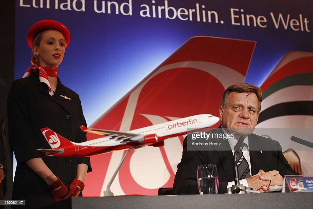 Hartmut Mehdorn CEO of German airline Airberlin speaks during a press conference on December 19 2011 in Berlin Germany Airberlin and Ethihad Airways...