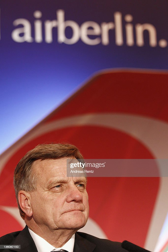 <a gi-track='captionPersonalityLinkClicked' href=/galleries/search?phrase=Hartmut+Mehdorn&family=editorial&specificpeople=613038 ng-click='$event.stopPropagation()'>Hartmut Mehdorn</a>, CEO of German airline Airberlin speaks during a press conference on December 19, 2011 in Berlin, Germany. Airberlin and Ethihad Airways annouced their strategic partnership. Etihad Airways increase its stake in airberlin to 29 per cent and becomes biggest single shareholder in airberlin.