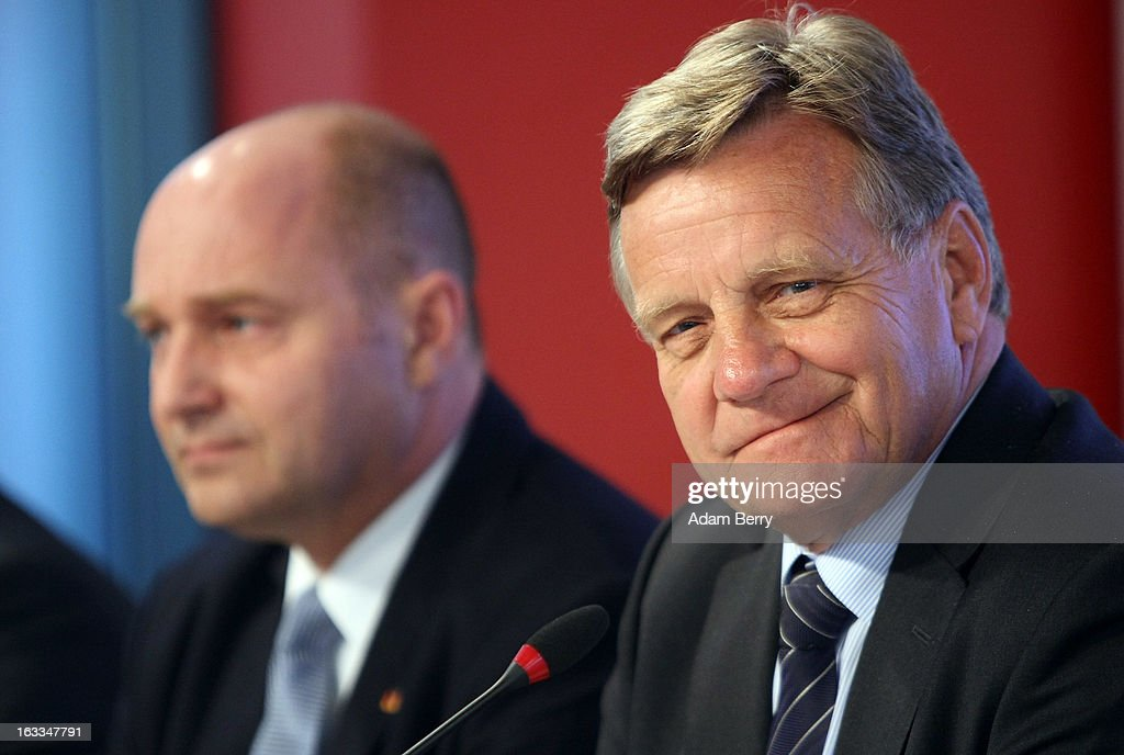 <a gi-track='captionPersonalityLinkClicked' href=/galleries/search?phrase=Hartmut+Mehdorn&family=editorial&specificpeople=613038 ng-click='$event.stopPropagation()'>Hartmut Mehdorn</a>, former chief executive of Air Berlin and Deutsche Bahn (R), and German Transport Ministry State Secretary Rainer Bomba listen at a news conference on March 8, 2013 in Berlin, Germany. Mehdorn was appointed head of the management board of the city's new airport, Berlin Brandenburg International (BER), which has been plagued with delays in its opening over the past year and a half. The position has been unoccupied since January, when Rainer Schwarz stepped down from it after it was announced that the new airport's opening would be postponed for a fourth time until at least 2014.
