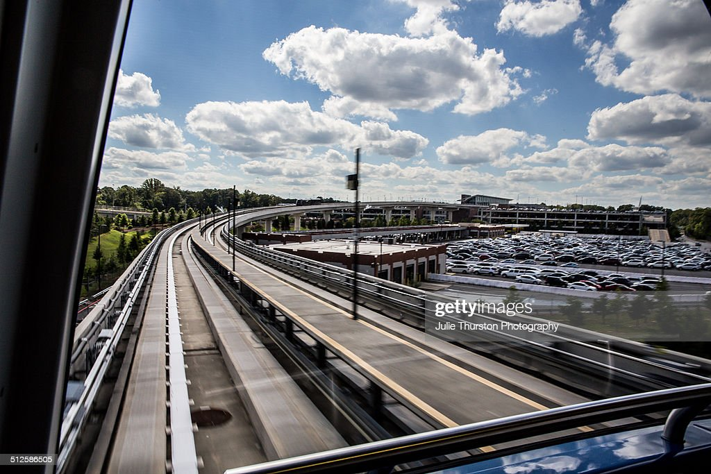 HartsfieldJackson Atlanta International Airport ATL Skytrain View of Outside Elevated Rail Tracks Automated People Mover That Shuttles Over...