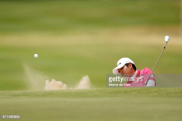 Haru Namura of Japan plays a shot from the bunker during day four of the ISPS Handa Women's Australian Open at The Grange GC on February 21 2016 in...