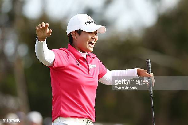 Haru Nomura of Japan celebrates after winning the Women's Australian Open during day four of the ISPS Handa Women's Australian Open at The Grange GC...