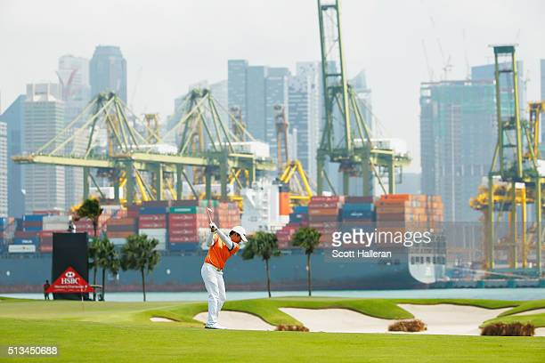 Haru Nomura of Japan hits her second shot on the fifth hole during the first round of the HSBC Women's Champions at Sentosa Golf Club on March 3 2016...