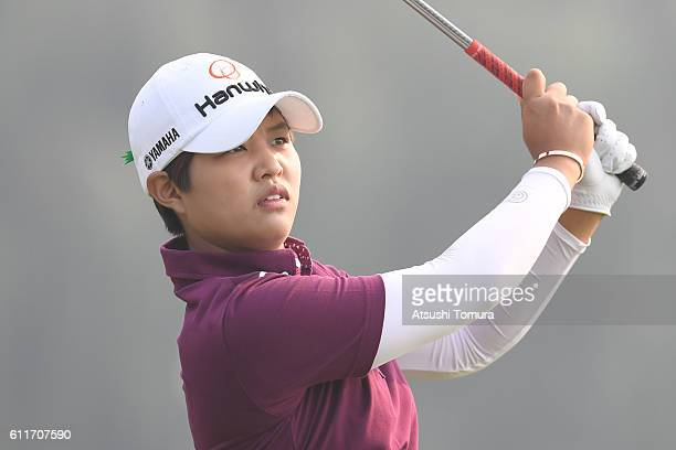 Haru Nomura of Japan hits her tee shot on the 3rd hole during the 3rd round of the 2016 Reignwood LPGA Classic on October 1 2016 in Beijing China