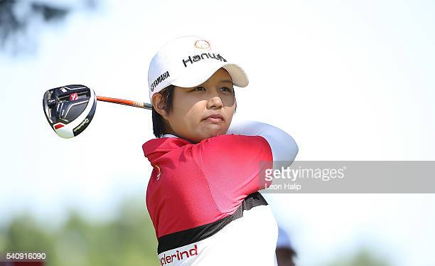 Haru Nomura of Japan hits her tee shot on the 9th hole during the second round of the Meijer LPGA Classic on June 17 2016 at Blythefield Country Club...