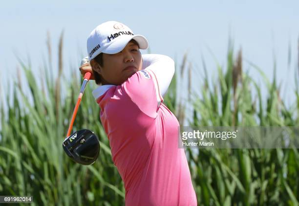 Haru Nomura of Japan hits her tee shot on the third hole during the second round of the ShopRite LPGA Classic presented by Acer on the Bay Course at...