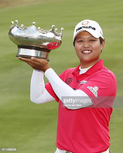 Haru Nomura of Japan holds the trophy after winning the Women's Australian Open during day four of the ISPS Handa Women's Australian Open at The...