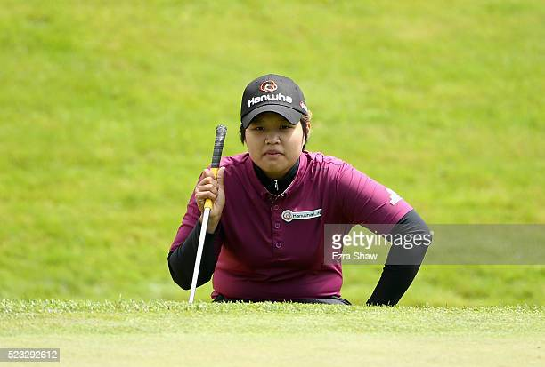 Haru Nomura of Japan lines up a shot on the second hole during round two of the Swinging Skirts LPGA Classic at Lake Merced Golf Club on April 22...